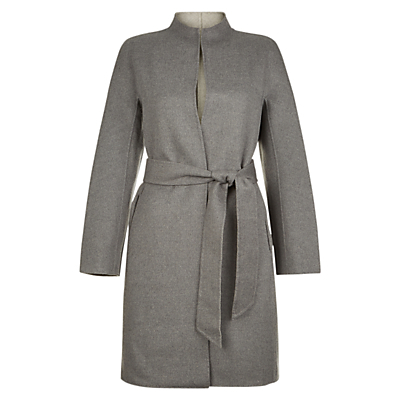 Daena Coat, Grey - pattern: plain; style: single breasted; collar: high neck; length: mid thigh; predominant colour: charcoal; occasions: work; fit: tailored/fitted; fibres: wool - mix; waist detail: belted waist/tie at waist/drawstring; sleeve length: long sleeve; sleeve style: standard; collar break: high; pattern type: fabric; texture group: woven bulky/heavy; wardrobe: investment; season: a/w 2016