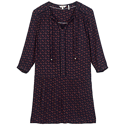 April Wheatsheaf Dress, Navy - style: tunic; neckline: v-neck; predominant colour: navy; occasions: casual, creative work; length: just above the knee; fit: body skimming; fibres: viscose/rayon - 100%; sleeve length: 3/4 length; sleeve style: standard; pattern type: fabric; pattern: patterned/print; texture group: other - light to midweight; secondary colour: raspberry; multicoloured: multicoloured; season: a/w 2016; wardrobe: highlight