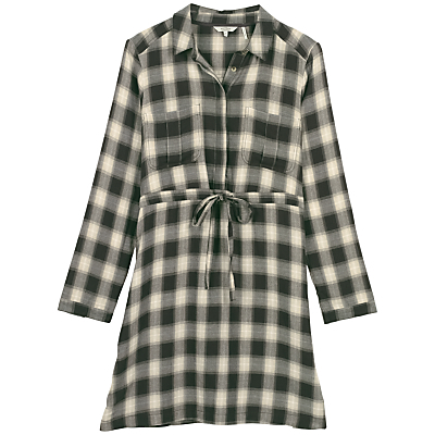 Dulcie Check Shirt Dress, Phantom - style: shirt; neckline: shirt collar/peter pan/zip with opening; pattern: checked/gingham; waist detail: belted waist/tie at waist/drawstring; secondary colour: ivory/cream; predominant colour: black; occasions: casual; length: just above the knee; fit: body skimming; fibres: cotton - 100%; sleeve length: long sleeve; sleeve style: standard; texture group: cotton feel fabrics; pattern type: fabric; multicoloured: multicoloured; season: a/w 2016; wardrobe: highlight