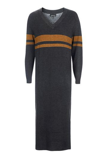 Oversized Sport Midi Dress - style: jumper dress; length: calf length; neckline: v-neck; fit: loose; pattern: horizontal stripes; secondary colour: mustard; predominant colour: charcoal; occasions: casual; sleeve length: long sleeve; sleeve style: standard; pattern type: fabric; texture group: jersey - stretchy/drapey; fibres: viscose/rayon - mix; multicoloured: multicoloured; trends: tomboy girl; season: a/w 2016; wardrobe: highlight