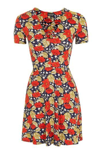 Petite Poppy Lace Up Dress - length: mid thigh; neckline: v-neck; predominant colour: navy; secondary colour: bright orange; occasions: casual; fit: fitted at waist & bust; style: fit & flare; fibres: viscose/rayon - stretch; sleeve length: short sleeve; sleeve style: standard; pattern type: fabric; pattern size: big & busy; pattern: florals; texture group: jersey - stretchy/drapey; multicoloured: multicoloured; trends: pretty girl; season: a/w 2016; wardrobe: highlight