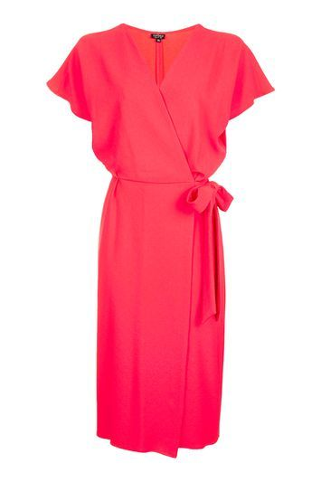 Tall Wrap Midi Dress - style: faux wrap/wrap; length: below the knee; neckline: v-neck; sleeve style: capped; fit: fitted at waist; pattern: plain; waist detail: belted waist/tie at waist/drawstring; predominant colour: coral; occasions: evening, creative work; fibres: polyester/polyamide - stretch; sleeve length: short sleeve; texture group: crepes; pattern type: fabric; trends: chic girl, glossy girl, pretty girl; season: s/s 2016; wardrobe: highlight