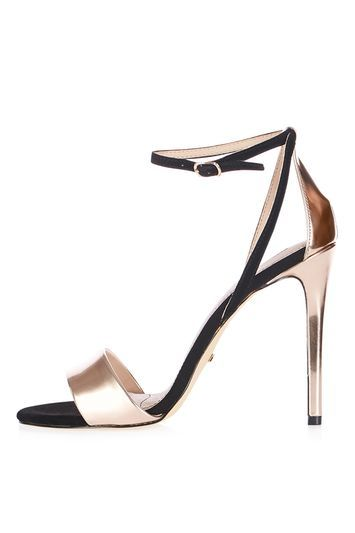 Raphael Sandals - predominant colour: gold; secondary colour: black; occasions: evening, occasion; material: faux leather; ankle detail: ankle strap; heel: stiletto; toe: open toe/peeptoe; style: standard; finish: metallic; pattern: plain; heel height: very high; multicoloured: multicoloured; season: a/w 2016; wardrobe: event