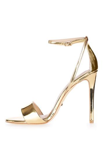 Raphael Sandals - predominant colour: gold; occasions: evening, occasion; material: faux leather; heel height: high; ankle detail: ankle strap; heel: stiletto; toe: open toe/peeptoe; style: standard; finish: metallic; pattern: plain; season: a/w 2016; wardrobe: event