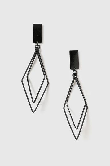 Geometric Drop Earrings - predominant colour: black; occasions: evening; style: drop; length: long; size: large/oversized; material: chain/metal; fastening: pierced; finish: metallic; season: a/w 2016; wardrobe: event