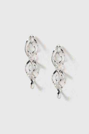 Oversized Swirl Drop Earrings - predominant colour: silver; occasions: evening, occasion; style: drop; length: mid; size: standard; material: chain/metal; fastening: pierced; finish: metallic; season: a/w 2016; wardrobe: event