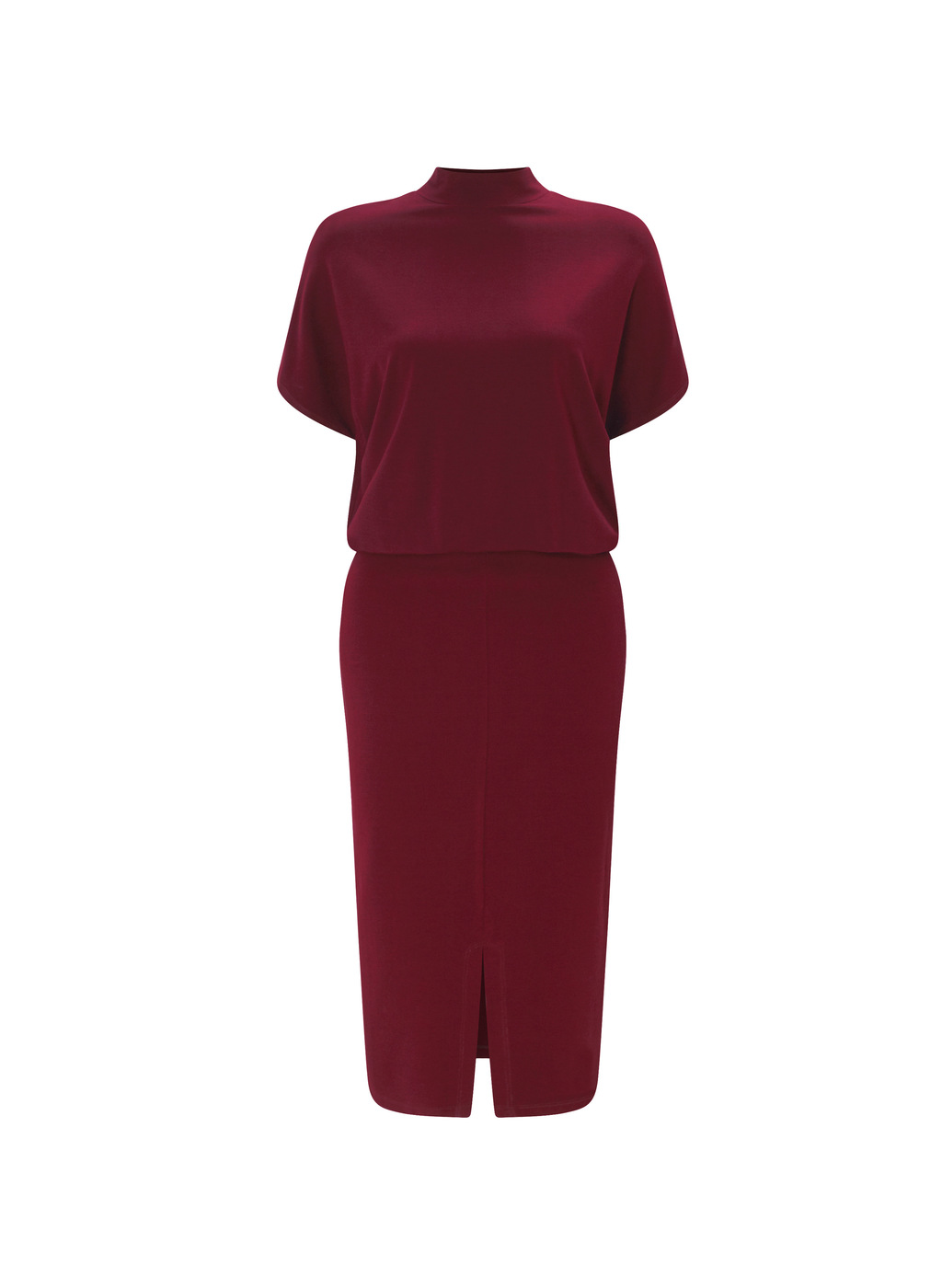 Womenswear Bernwood Shift Dress - style: shift; length: below the knee; sleeve style: dolman/batwing; fit: tailored/fitted; pattern: plain; neckline: high neck; predominant colour: burgundy; occasions: evening, occasion; fibres: polyester/polyamide - 100%; hip detail: slits at hip; sleeve length: short sleeve; texture group: crepes; pattern type: fabric; season: a/w 2016; wardrobe: event