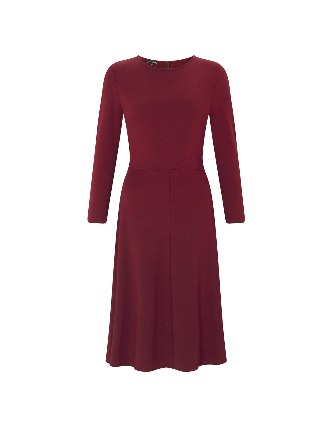 Womenswear Northwood Dress - length: below the knee; pattern: plain; predominant colour: burgundy; occasions: evening; fit: fitted at waist & bust; style: fit & flare; fibres: cotton - stretch; neckline: crew; sleeve length: long sleeve; sleeve style: standard; pattern type: fabric; texture group: jersey - stretchy/drapey; season: a/w 2016