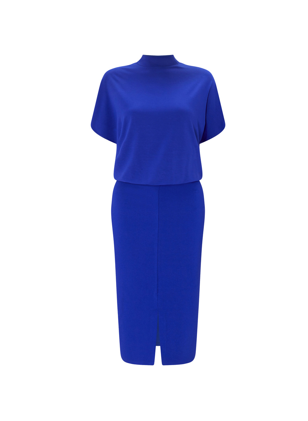 Womenswear Bernwood Shift Dress - style: shift; pattern: plain; neckline: high neck; predominant colour: royal blue; occasions: evening, creative work; length: on the knee; fit: body skimming; fibres: polyester/polyamide - 100%; sleeve length: short sleeve; sleeve style: standard; pattern type: fabric; texture group: other - light to midweight; season: a/w 2016; wardrobe: highlight