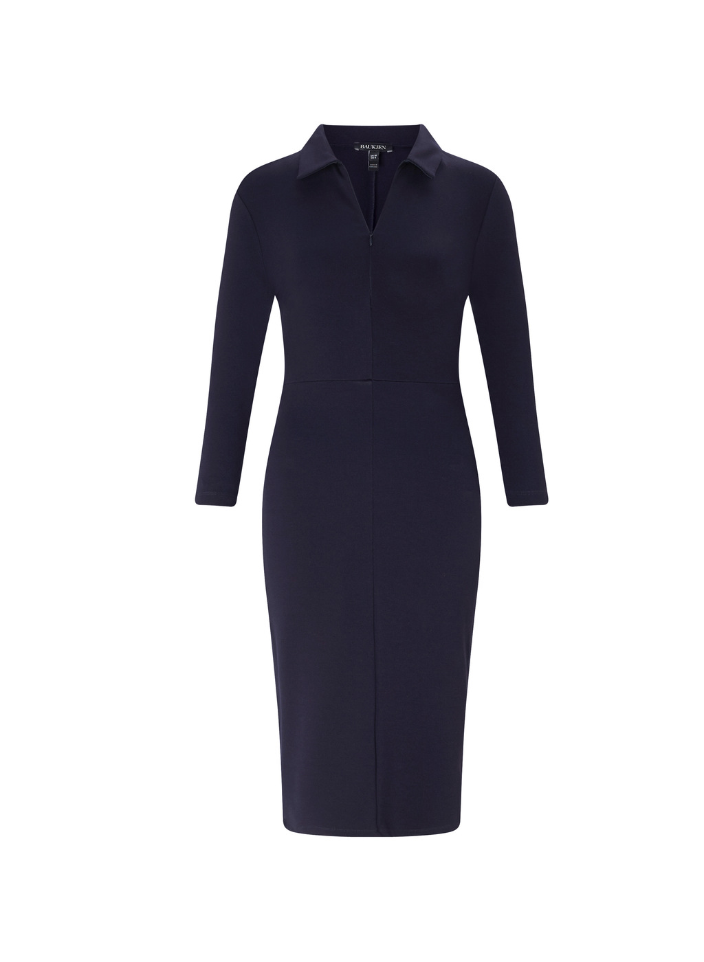 Womenswear Hayward Shift Dress - style: shift; neckline: shirt collar/peter pan/zip with opening; fit: tailored/fitted; pattern: plain; predominant colour: navy; occasions: work; length: on the knee; fibres: polyester/polyamide - stretch; sleeve length: long sleeve; sleeve style: standard; texture group: crepes; pattern type: fabric; wardrobe: investment; season: a/w 2016