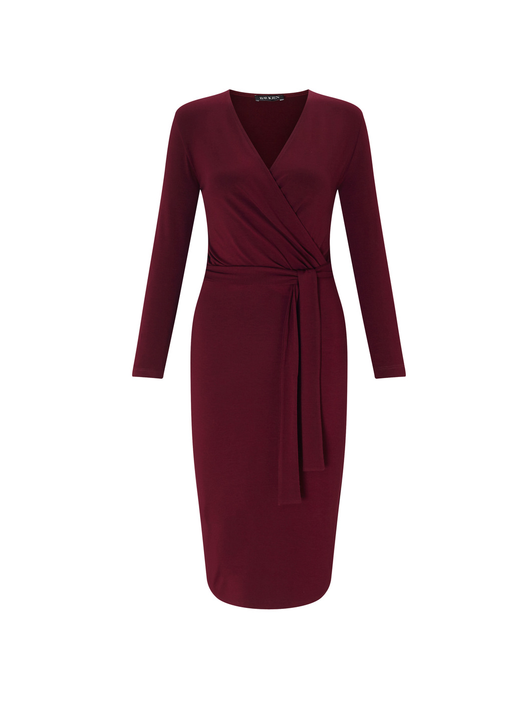 Womenswear Elswick Dress - style: faux wrap/wrap; length: below the knee; neckline: v-neck; pattern: plain; waist detail: belted waist/tie at waist/drawstring; predominant colour: burgundy; occasions: evening; fit: body skimming; fibres: viscose/rayon - stretch; sleeve length: long sleeve; sleeve style: standard; pattern type: fabric; texture group: jersey - stretchy/drapey; season: a/w 2016