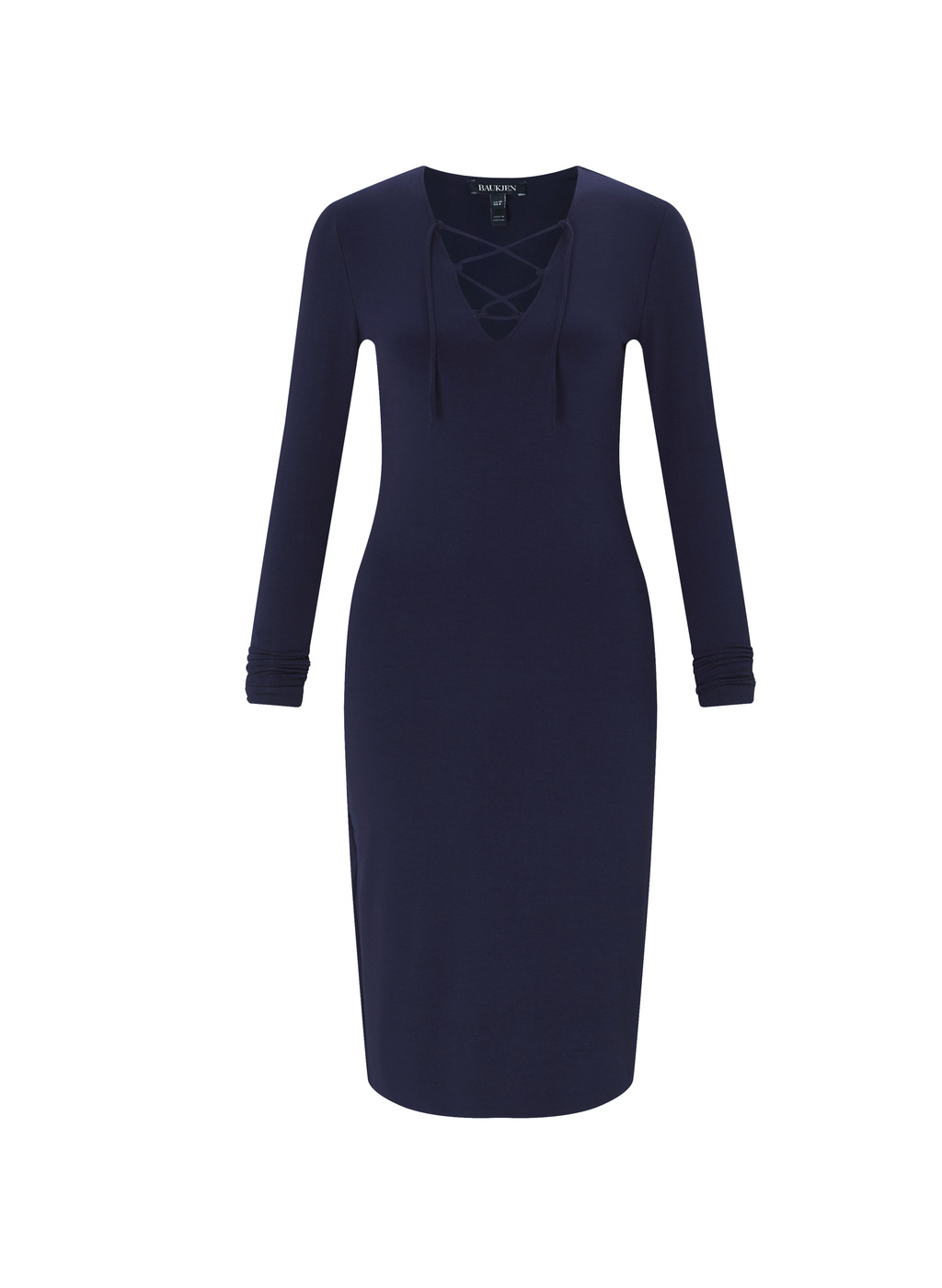 Womenswear Hinton Dress - neckline: v-neck; fit: tight; pattern: plain; style: bodycon; predominant colour: navy; occasions: evening; length: on the knee; fibres: viscose/rayon - stretch; sleeve length: long sleeve; sleeve style: standard; texture group: jersey - clingy; pattern type: fabric; season: a/w 2016; wardrobe: event