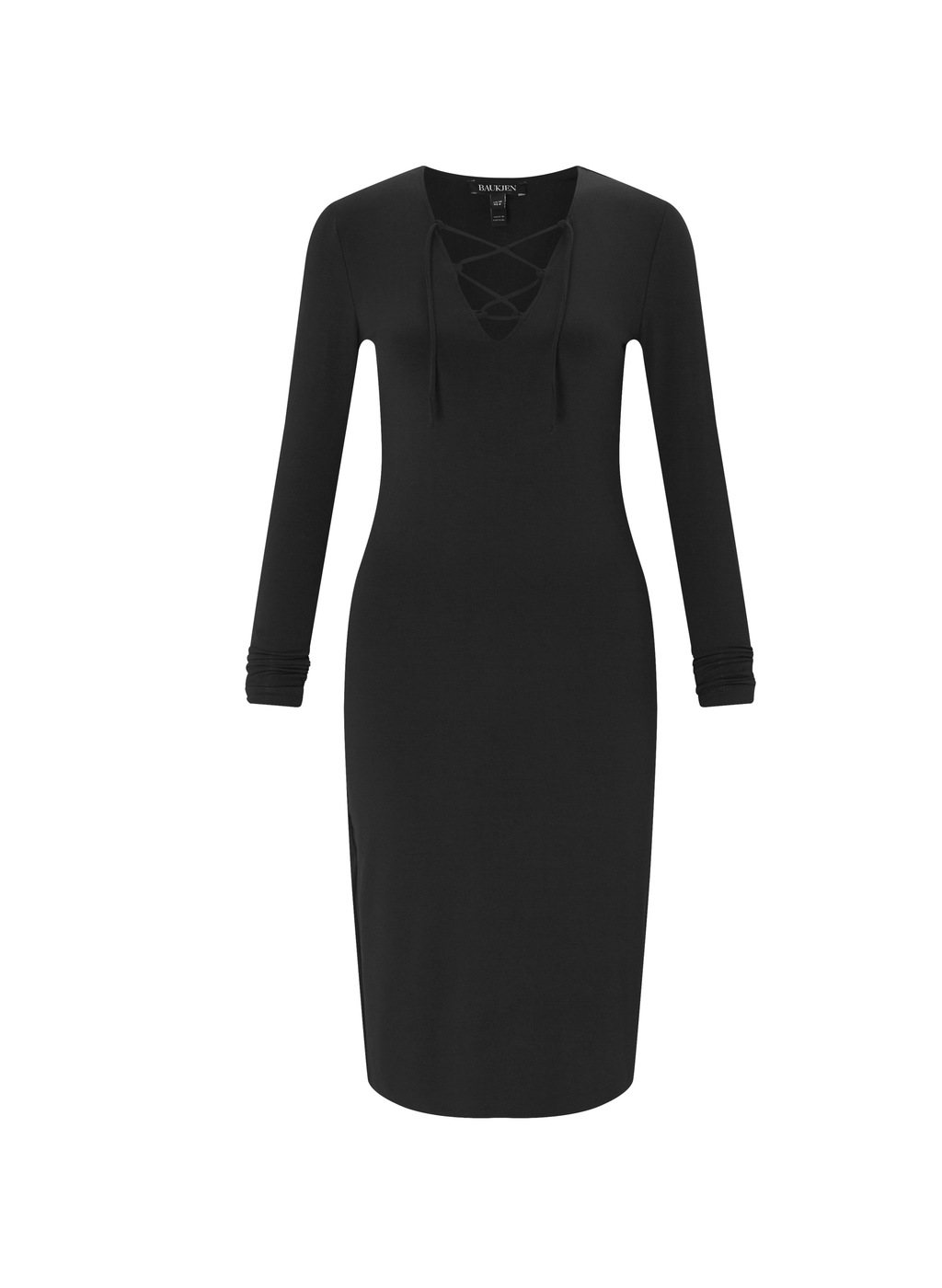 Womenswear Hinton Dress - neckline: v-neck; fit: tight; pattern: plain; style: bodycon; hip detail: draws attention to hips; predominant colour: black; occasions: evening; length: on the knee; fibres: polyester/polyamide - stretch; sleeve length: long sleeve; sleeve style: standard; texture group: jersey - clingy; pattern type: fabric; season: a/w 2016; wardrobe: event; embellishment location: bust