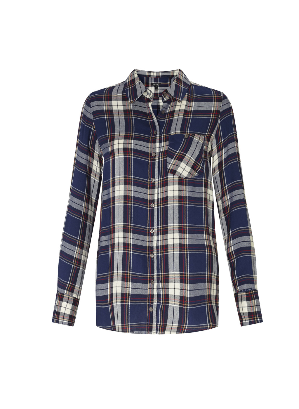 Womenswear Caris Checked Shirt - neckline: shirt collar/peter pan/zip with opening; pattern: checked/gingham; style: shirt; predominant colour: navy; secondary colour: light grey; occasions: casual; length: standard; fibres: viscose/rayon - 100%; fit: body skimming; sleeve length: long sleeve; sleeve style: standard; texture group: cotton feel fabrics; pattern type: fabric; multicoloured: multicoloured; season: a/w 2016; wardrobe: highlight