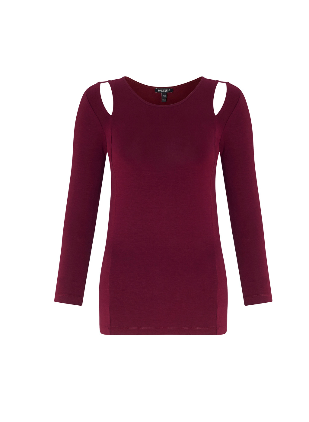 Womenswear Henwood Top - pattern: plain; predominant colour: burgundy; occasions: casual; length: standard; style: top; fibres: viscose/rayon - stretch; fit: body skimming; neckline: crew; sleeve length: 3/4 length; sleeve style: standard; pattern type: fabric; texture group: jersey - stretchy/drapey; season: a/w 2016; wardrobe: highlight