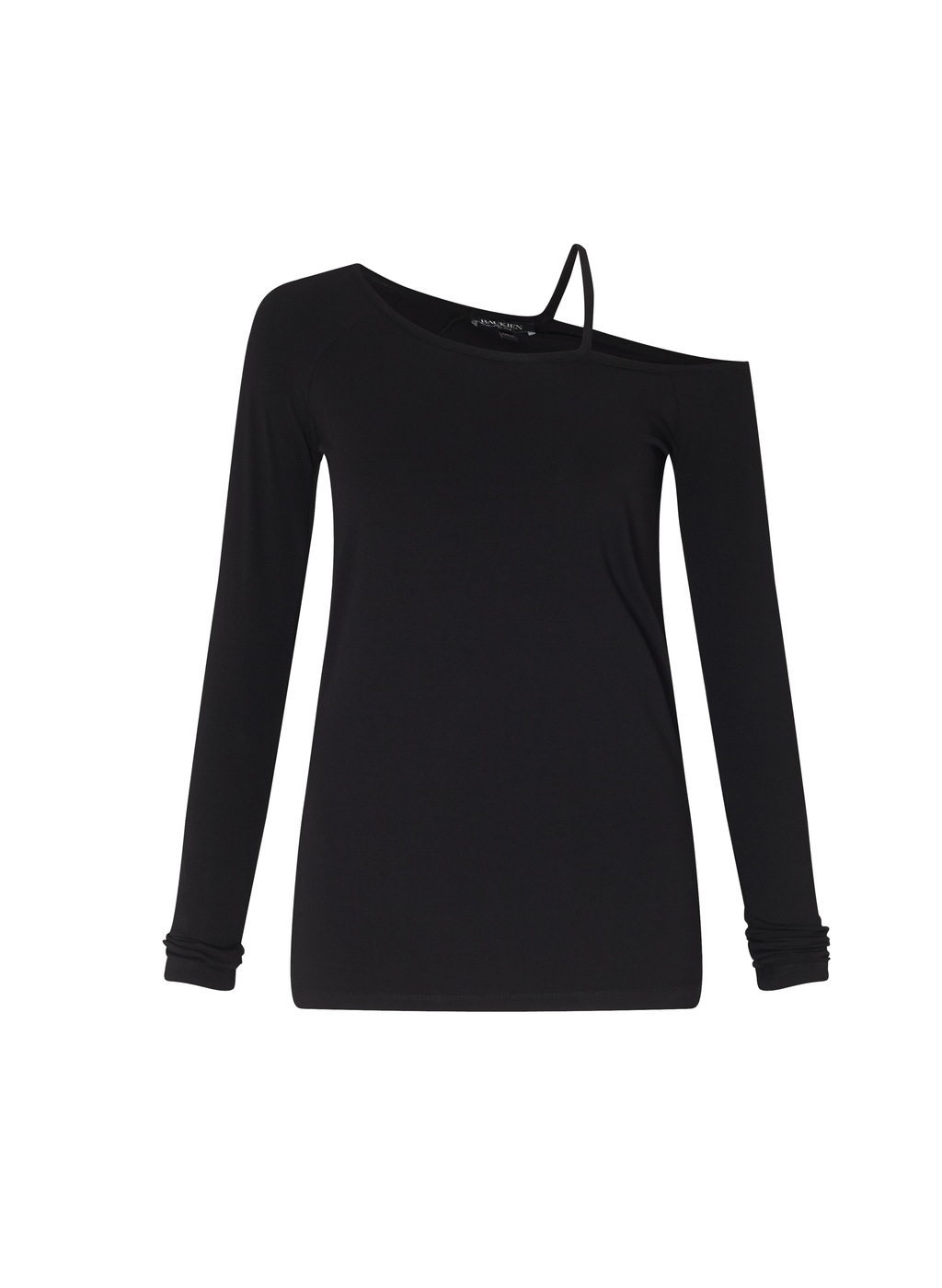 Womenswear Marina Top - pattern: plain; neckline: asymmetric; predominant colour: black; occasions: casual; length: standard; style: top; fibres: viscose/rayon - stretch; fit: body skimming; sleeve length: long sleeve; sleeve style: standard; pattern type: fabric; texture group: jersey - stretchy/drapey; wardrobe: basic; season: a/w 2016