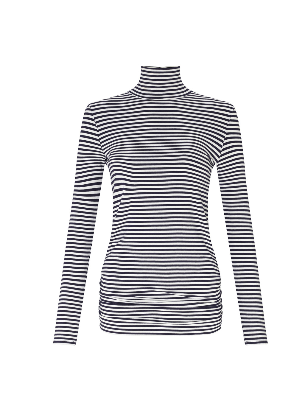 Womenswear Franklin Turtleneck Top - pattern: horizontal stripes; neckline: high neck; secondary colour: white; predominant colour: navy; occasions: casual; length: standard; style: top; fibres: viscose/rayon - stretch; fit: body skimming; sleeve length: long sleeve; sleeve style: standard; pattern type: fabric; texture group: jersey - stretchy/drapey; multicoloured: multicoloured; wardrobe: basic; season: a/w 2016