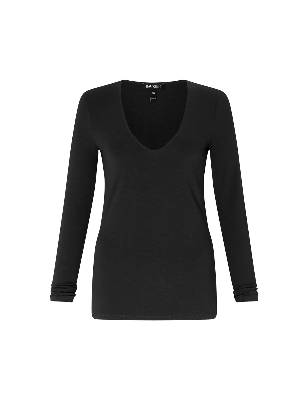 Womenswear Astell Top - neckline: v-neck; pattern: plain; predominant colour: black; occasions: casual; length: standard; style: top; fibres: viscose/rayon - stretch; fit: body skimming; sleeve length: long sleeve; sleeve style: standard; pattern type: fabric; texture group: jersey - stretchy/drapey; wardrobe: basic; season: a/w 2016
