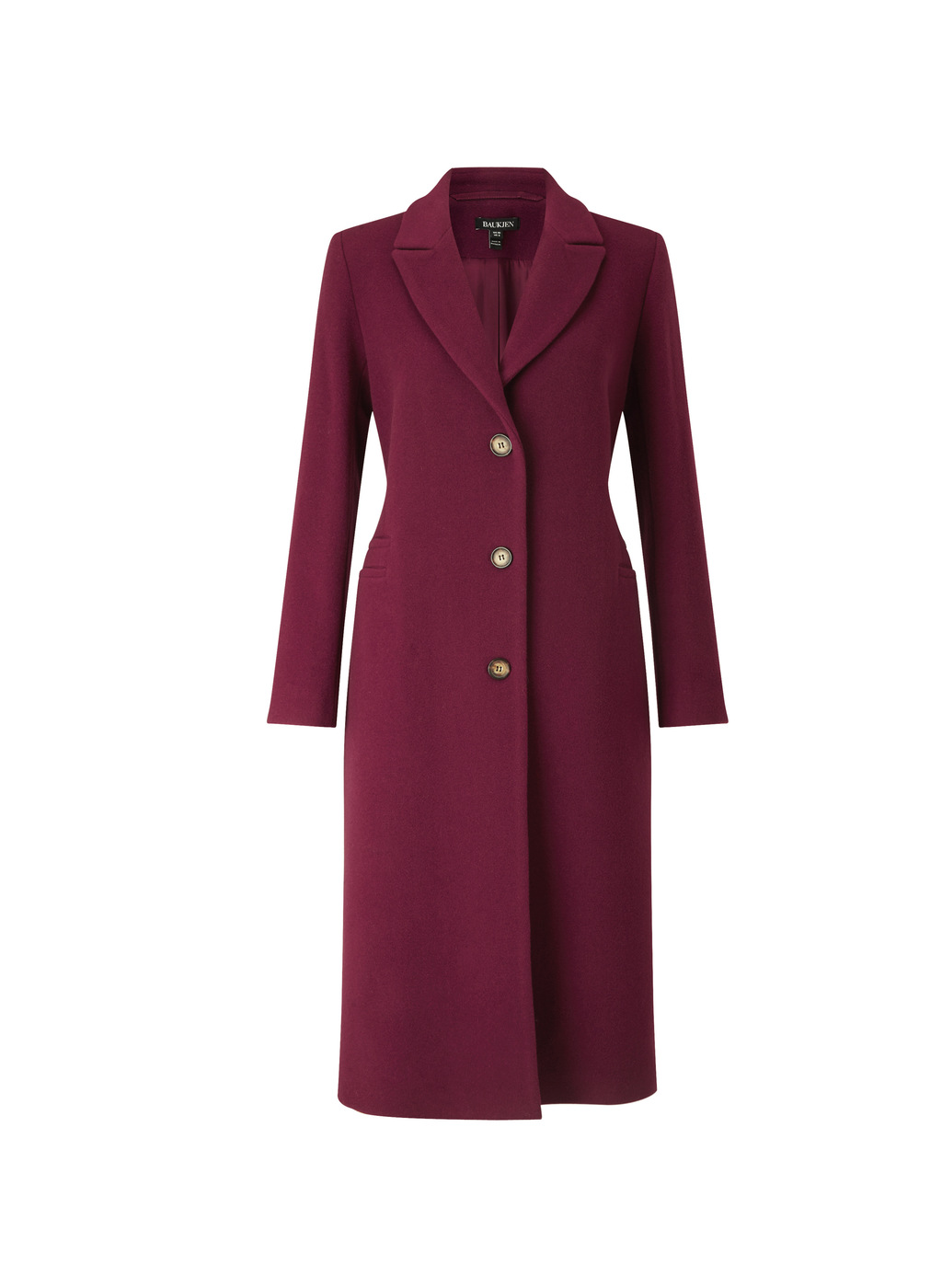 Womenswear Sailsbury City Coat - pattern: plain; style: single breasted; length: on the knee; collar: standard lapel/rever collar; predominant colour: aubergine; fit: tailored/fitted; fibres: wool - mix; sleeve length: long sleeve; sleeve style: standard; collar break: medium; pattern type: fabric; texture group: woven bulky/heavy; occasions: creative work; season: a/w 2016