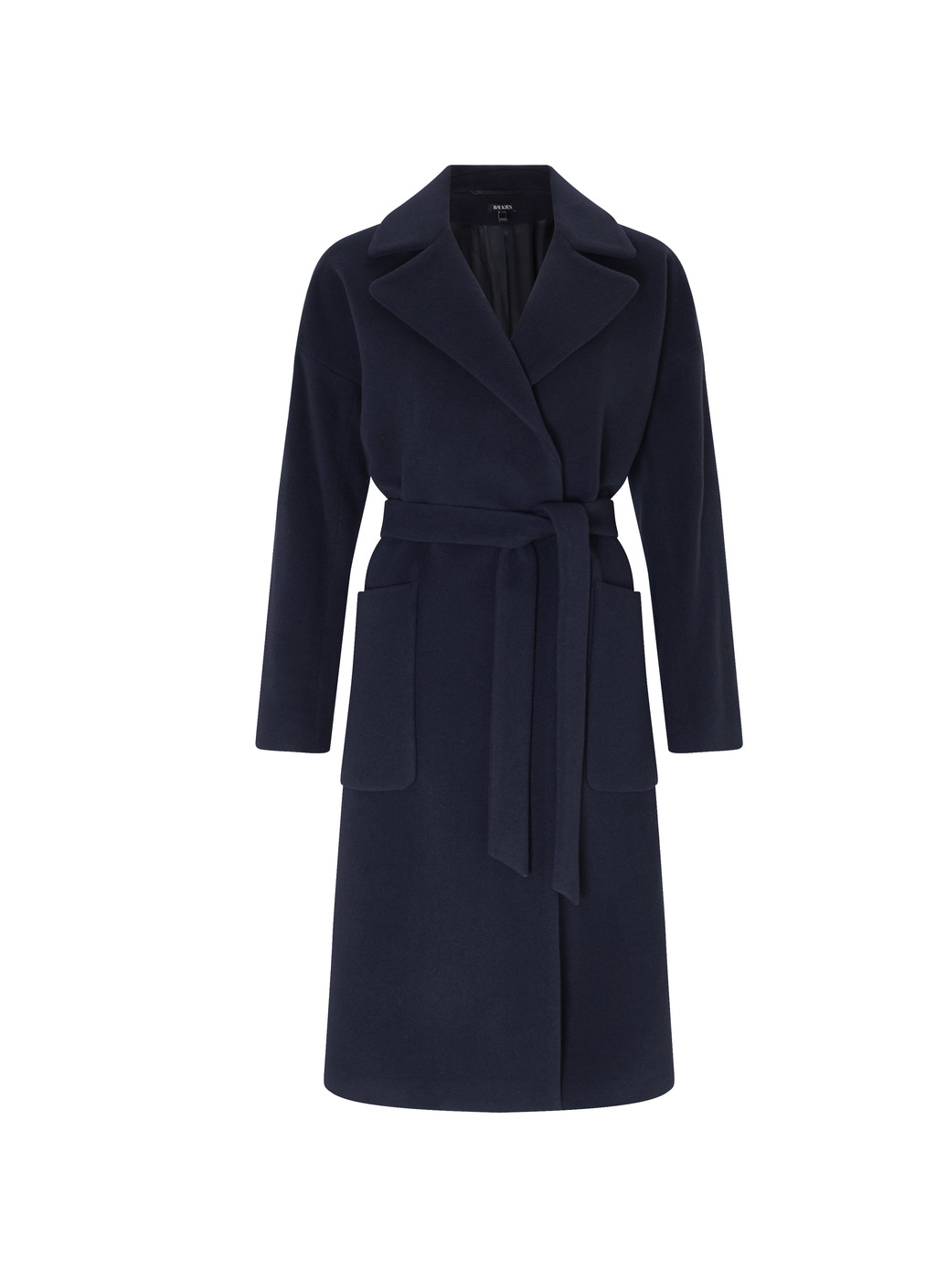 Womenswear Sailsbury Wrap Coat - pattern: plain; length: on the knee; style: wrap around; fit: slim fit; collar: standard lapel/rever collar; predominant colour: navy; occasions: casual; waist detail: belted waist/tie at waist/drawstring; fibres: cashmere - 100%; sleeve length: long sleeve; sleeve style: standard; texture group: knits/crochet; collar break: medium; pattern type: fabric; pattern size: light/subtle; season: a/w 2016