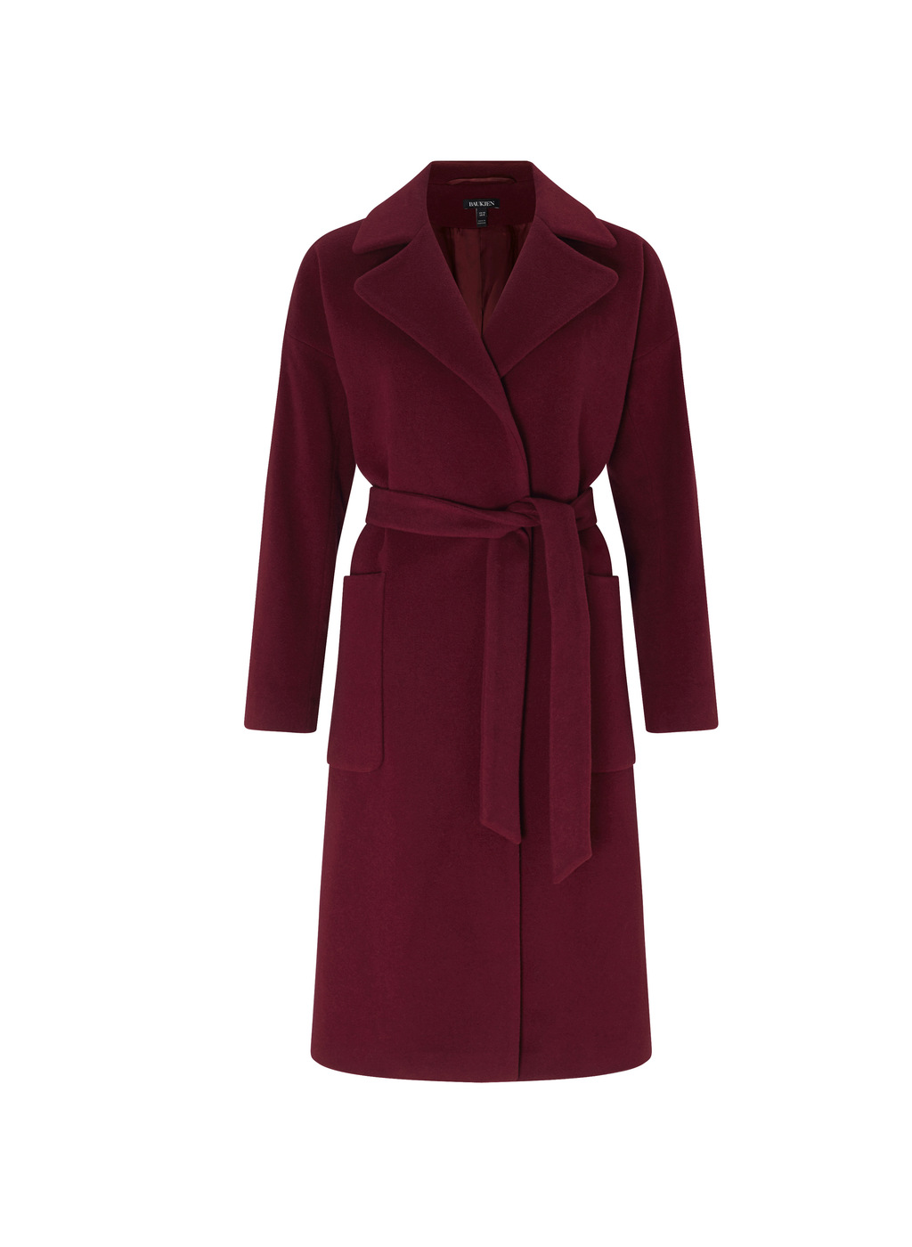 Womenswear Sailsbury Wrap Coat - pattern: plain; length: on the knee; style: wrap around; collar: standard lapel/rever collar; predominant colour: burgundy; occasions: casual; fit: tailored/fitted; waist detail: belted waist/tie at waist/drawstring; fibres: cashmere - 100%; sleeve length: long sleeve; sleeve style: standard; texture group: knits/crochet; collar break: medium; pattern type: knitted - fine stitch; season: a/w 2016; wardrobe: highlight