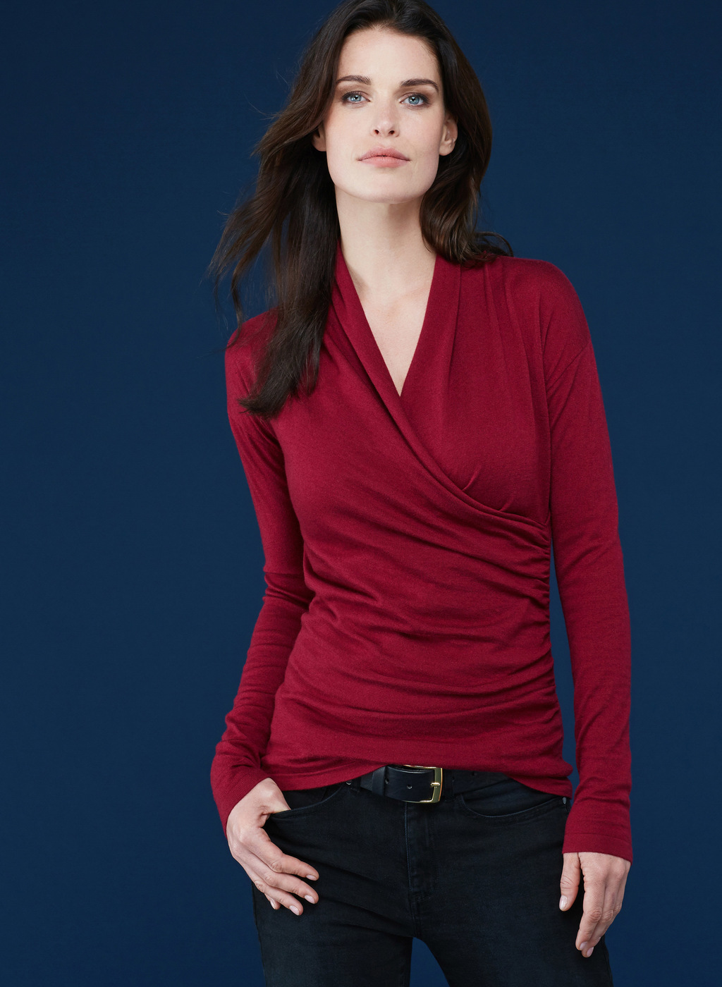 Womenswear Callington Wrap Jumper - neckline: v-neck; pattern: plain; style: faux wrap/wrap; predominant colour: burgundy; occasions: casual; length: standard; fibres: wool - mix; fit: slim fit; sleeve length: long sleeve; sleeve style: standard; texture group: knits/crochet; pattern type: knitted - other; season: a/w 2016; wardrobe: highlight
