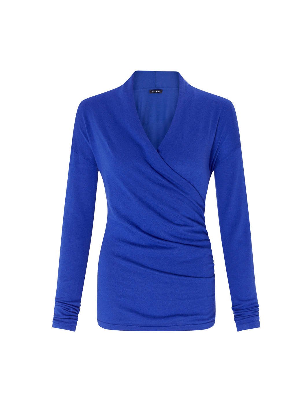 Womenswear Callington Wrap Jumper - neckline: v-neck; pattern: plain; style: faux wrap/wrap; predominant colour: royal blue; occasions: work; length: standard; fibres: wool - 100%; fit: slim fit; sleeve length: long sleeve; sleeve style: standard; texture group: knits/crochet; pattern type: knitted - other; season: a/w 2016; wardrobe: highlight