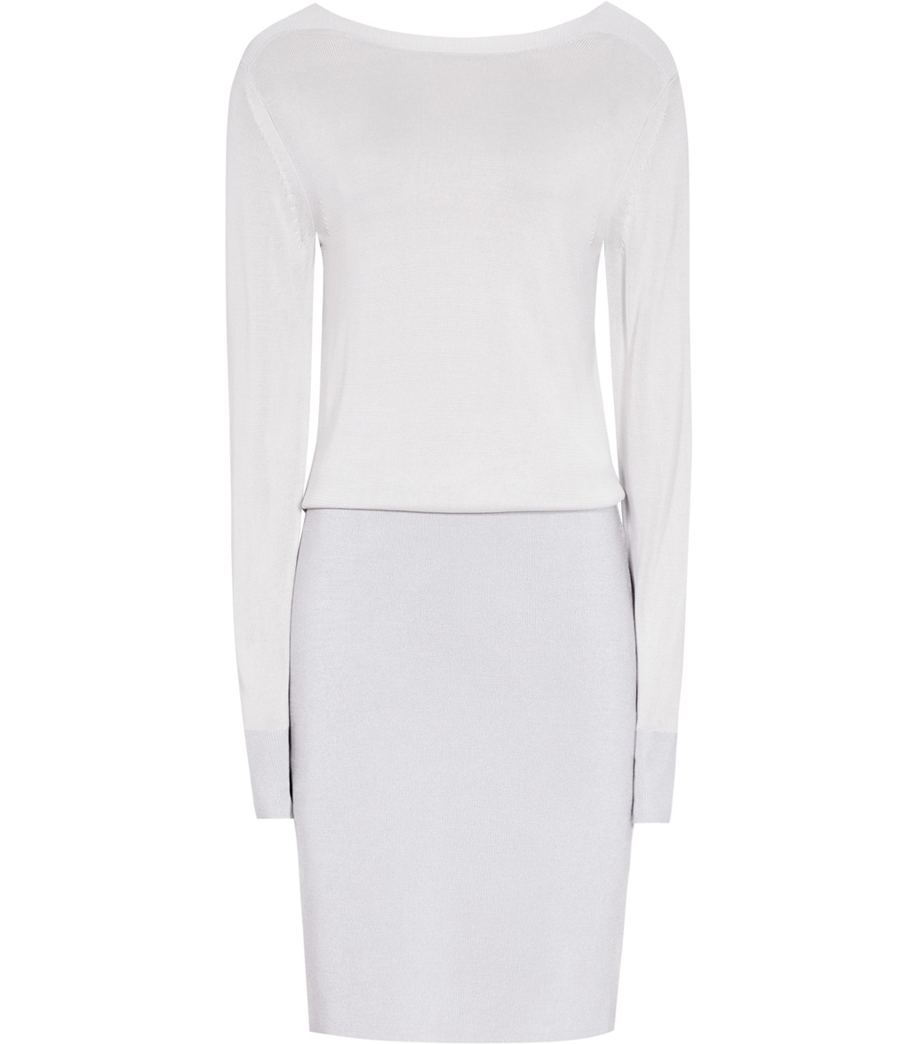 Blume Womens Knitted Dress In Grey - style: jumper dress; pattern: plain; predominant colour: light grey; occasions: casual; length: just above the knee; fit: body skimming; fibres: viscose/rayon - 100%; neckline: crew; sleeve length: long sleeve; sleeve style: standard; texture group: knits/crochet; pattern type: fabric; wardrobe: basic; season: a/w 2016