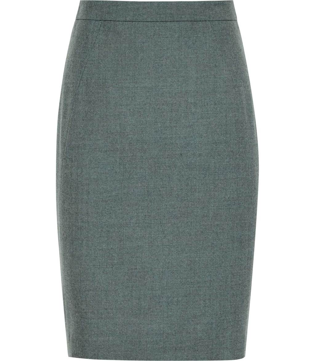 Murphy Skirt Womens Flannel Pencil Skirt In Green - pattern: plain; style: pencil; fit: tailored/fitted; waist: mid/regular rise; predominant colour: charcoal; occasions: work; length: just above the knee; fibres: wool - mix; pattern type: fabric; texture group: woven light midweight; wardrobe: basic; season: a/w 2016