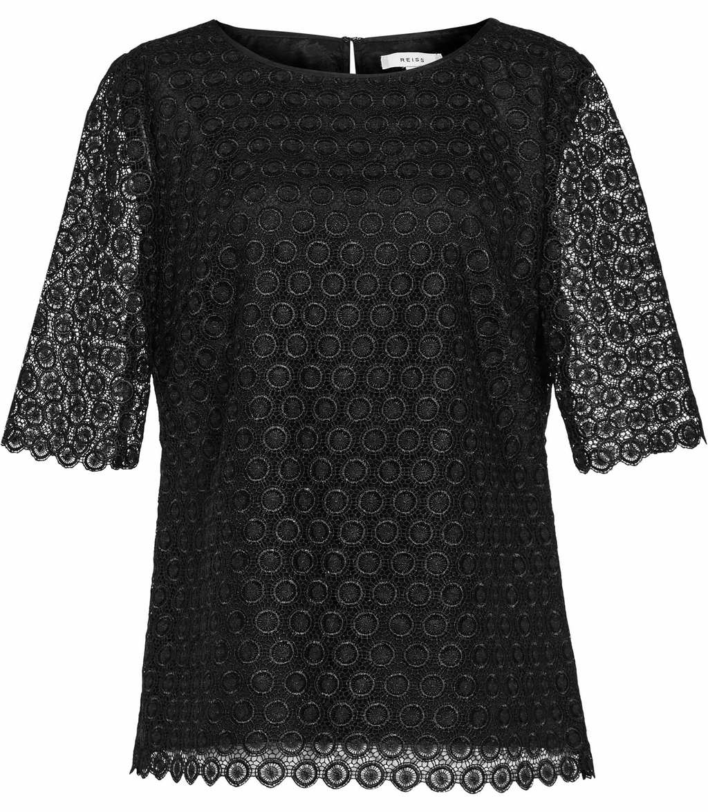 Dee Womens Short Sleeve Lace Top In Black - pattern: plain; predominant colour: black; occasions: evening; length: standard; style: top; fibres: polyester/polyamide - 100%; fit: body skimming; neckline: crew; sleeve length: half sleeve; sleeve style: standard; texture group: lace; pattern type: fabric; season: a/w 2016