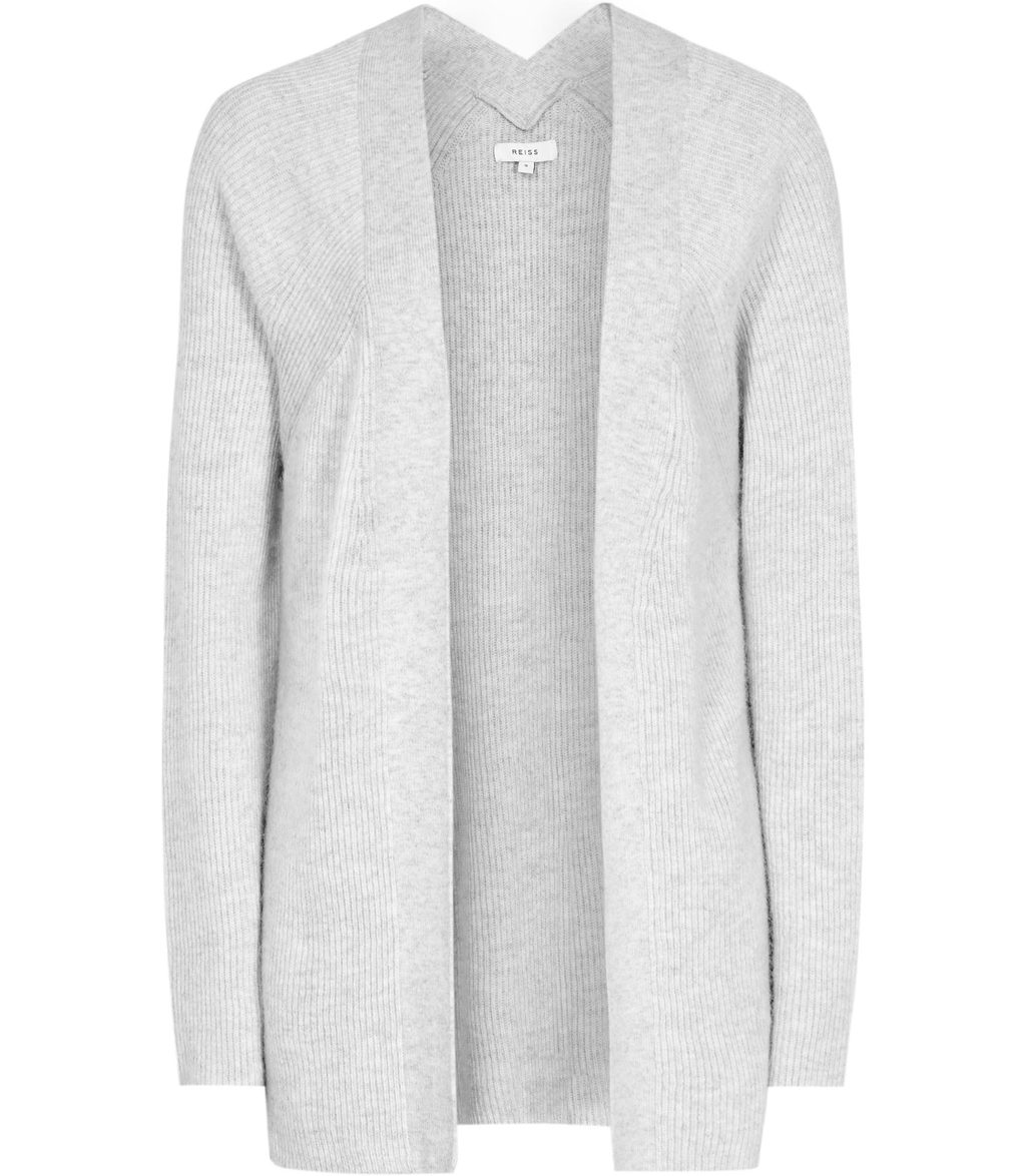 Marley Womens Open Front Cardigan In Grey - pattern: plain; length: below the bottom; neckline: collarless open; style: open front; predominant colour: light grey; occasions: casual; fibres: nylon - mix; fit: slim fit; sleeve length: long sleeve; sleeve style: standard; texture group: knits/crochet; pattern type: fabric; season: a/w 2016