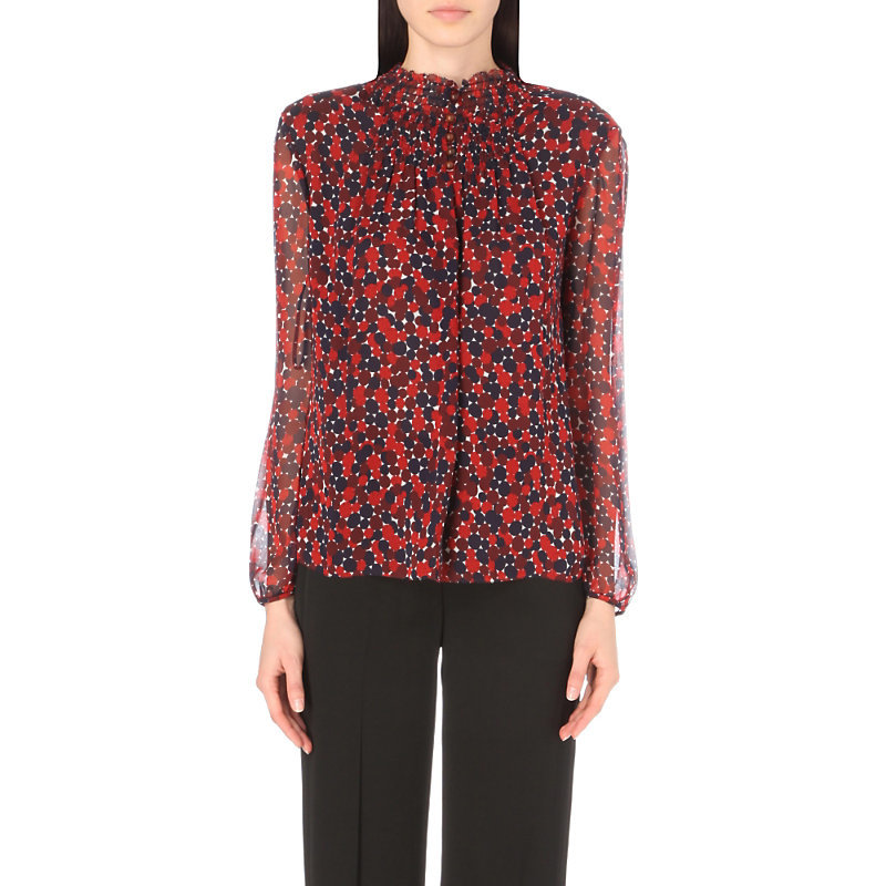 Aleni Silk Geometric Top, Women's, Montage Mini Rubiate - style: blouse; predominant colour: true red; secondary colour: navy; occasions: casual, creative work; length: standard; neckline: collarstand; fibres: silk - 100%; fit: straight cut; sleeve length: long sleeve; sleeve style: standard; texture group: sheer fabrics/chiffon/organza etc.; pattern type: fabric; pattern: patterned/print; multicoloured: multicoloured; season: a/w 2016; wardrobe: highlight