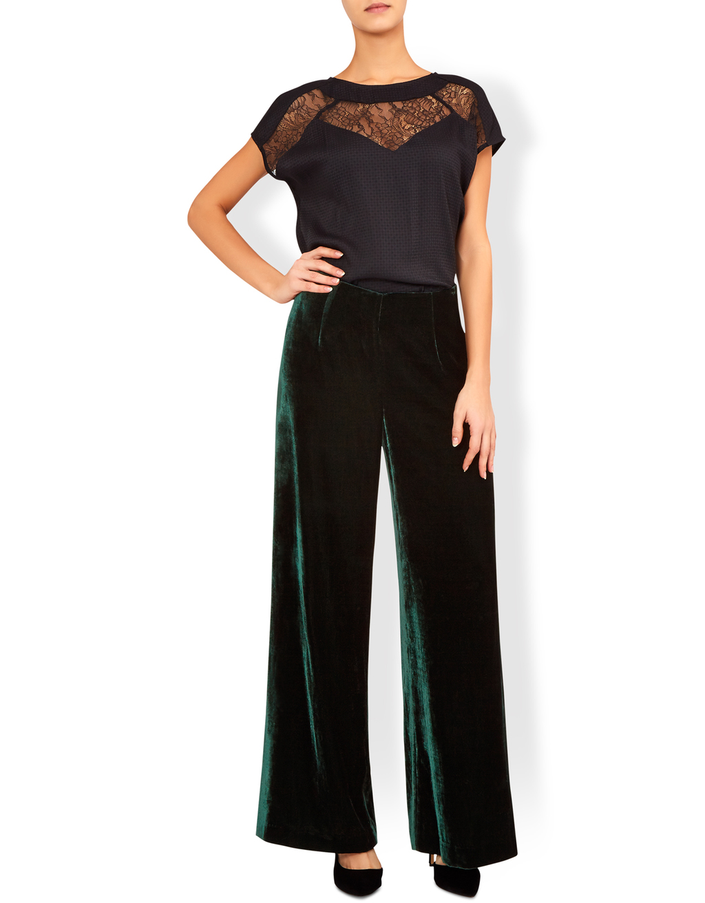 Vivienne Velvet Wideleg Trouser - length: standard; pattern: plain; style: palazzo; waist: high rise; predominant colour: dark green; occasions: evening, occasion; fit: wide leg; pattern type: fabric; texture group: velvet/fabrics with pile; fibres: viscose/rayon - mix; season: a/w 2016; wardrobe: event; trends: velvet
