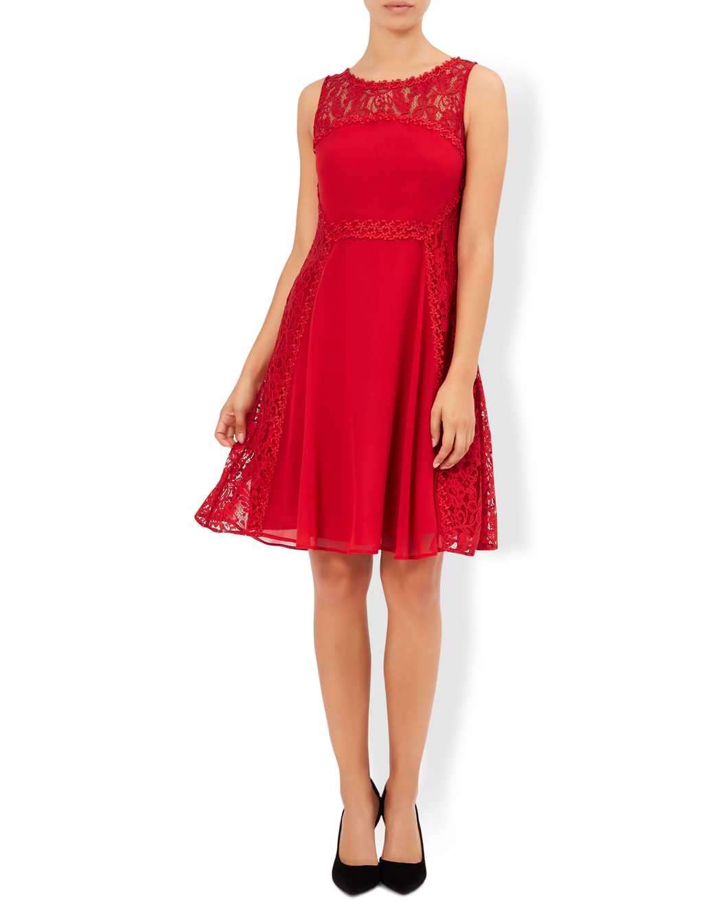 Cressida Dress - pattern: plain; sleeve style: sleeveless; predominant colour: true red; occasions: evening; length: on the knee; fit: fitted at waist & bust; style: fit & flare; fibres: nylon - 100%; neckline: crew; sleeve length: sleeveless; texture group: lace; pattern type: fabric; season: a/w 2016; wardrobe: event