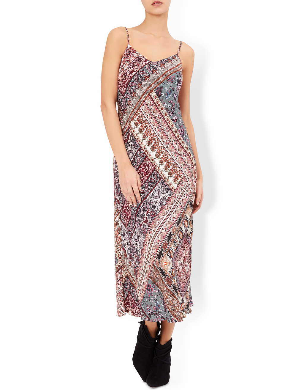 Ziggy Print Slip Dress - length: calf length; neckline: v-neck; sleeve style: spaghetti straps; pattern: paisley; back detail: back revealing; predominant colour: ivory/cream; secondary colour: burgundy; occasions: casual; fit: body skimming; style: slip dress; fibres: viscose/rayon - 100%; sleeve length: sleeveless; pattern type: fabric; pattern size: big & busy; texture group: woven light midweight; multicoloured: multicoloured; season: a/w 2016; wardrobe: highlight