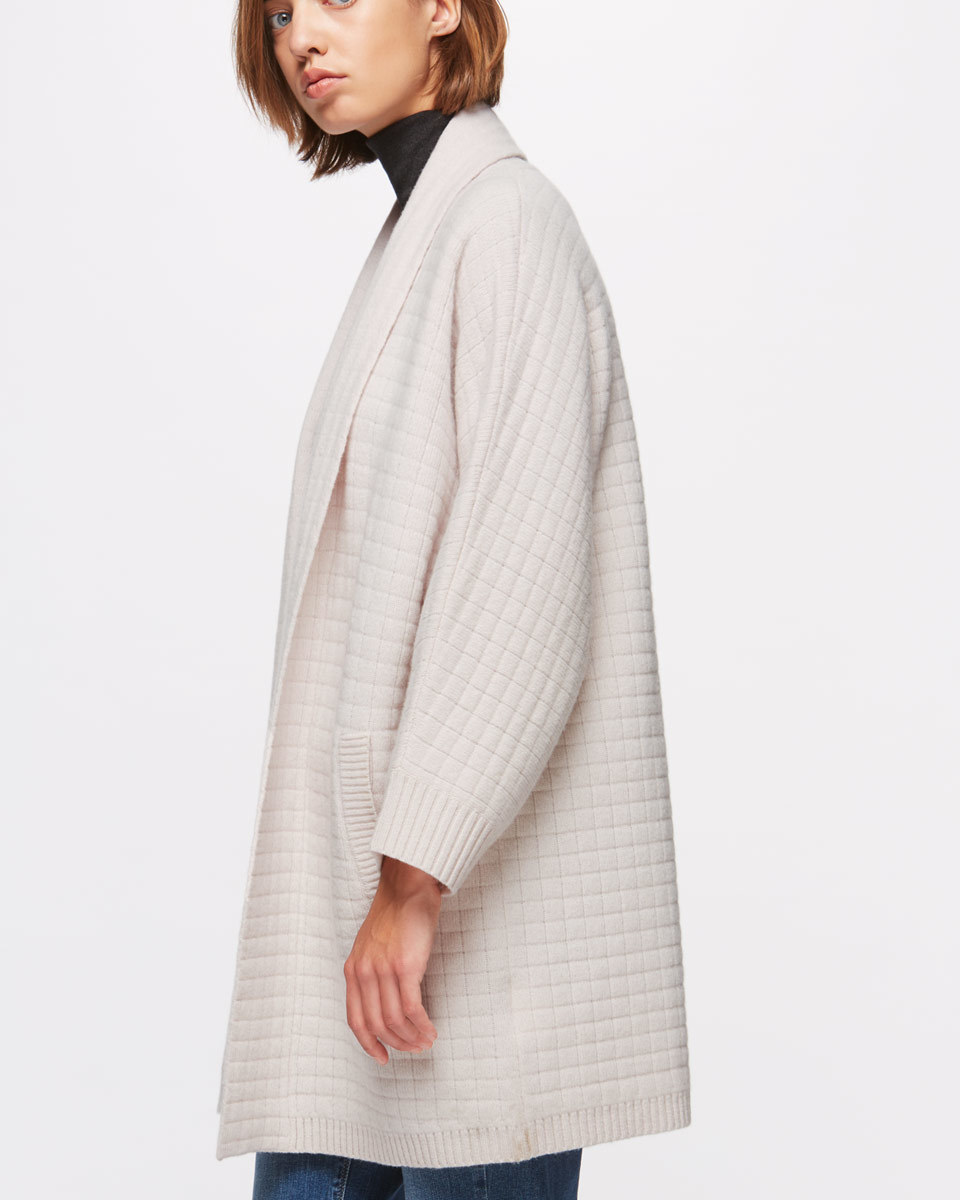 Square Stitch Cardigan - pattern: plain; neckline: shawl; style: open front; predominant colour: ivory/cream; occasions: casual; fibres: wool - 100%; fit: loose; length: mid thigh; sleeve length: long sleeve; sleeve style: standard; texture group: knits/crochet; pattern type: knitted - other; wardrobe: basic; season: a/w 2016