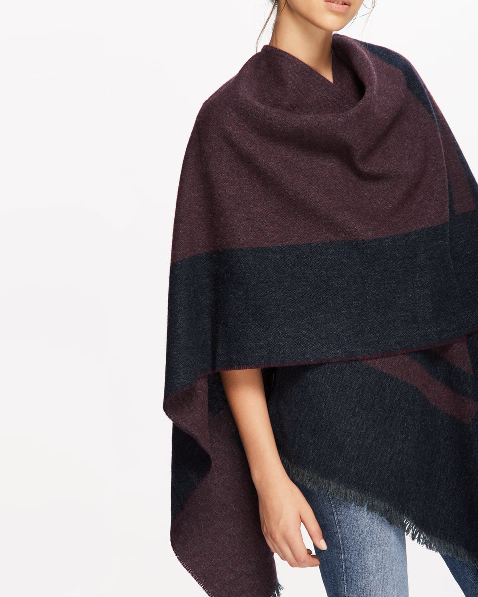 Sylvie Blanket Wrap Cape - neckline: cowl/draped neck; length: below the bottom; predominant colour: burgundy; occasions: casual; style: cape style; fibres: wool - mix; fit: loose; sleeve length: sleeveless; texture group: knits/crochet; pattern type: knitted - fine stitch; pattern: colourblock; sleeve style: cape/poncho sleeve; multicoloured: multicoloured; season: a/w 2016