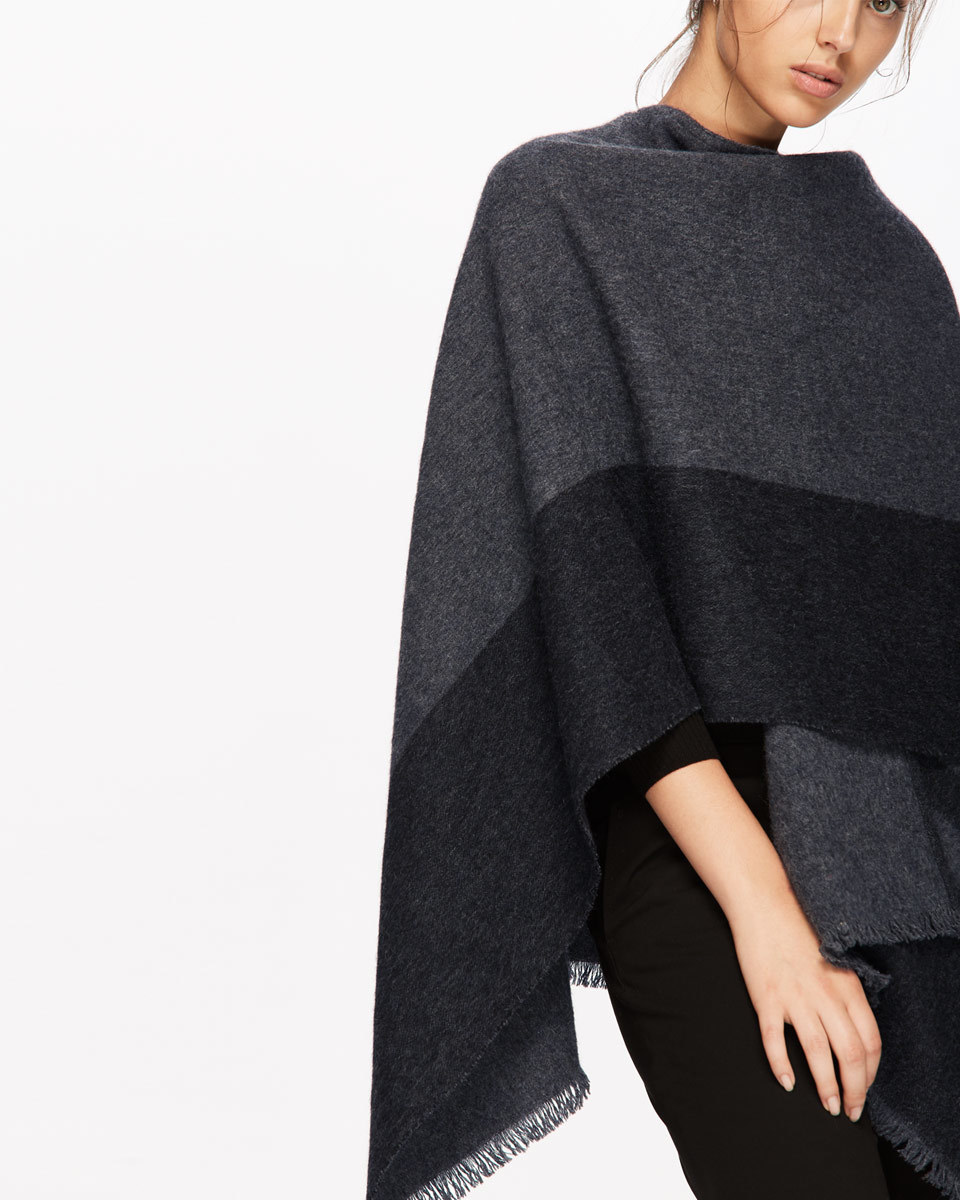 Sylvie Blanket Wrap Cape - neckline: cowl/draped neck; length: below the bottom; predominant colour: charcoal; occasions: casual, creative work; style: cape style; fibres: wool - mix; fit: loose; sleeve length: sleeveless; texture group: knits/crochet; pattern type: knitted - other; pattern: colourblock; sleeve style: cape/poncho sleeve; season: a/w 2016