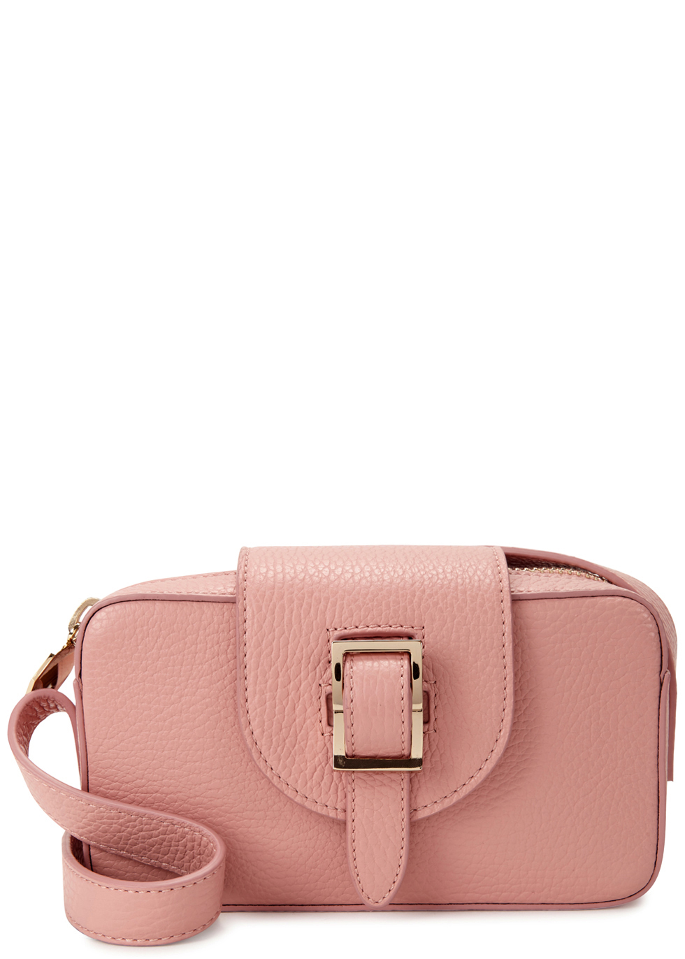 Microbox Pink Leather Cross Body Bag - predominant colour: pink; occasions: casual, creative work; type of pattern: standard; style: shoulder; length: shoulder (tucks under arm); size: small; material: leather; pattern: plain; finish: plain; season: a/w 2016; wardrobe: highlight