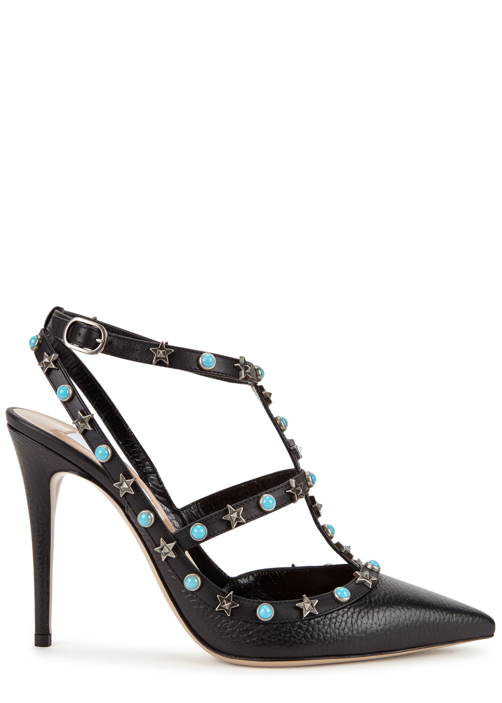 Rockstud 100 Star Embellished Leather Pumps - predominant colour: black; occasions: evening; material: leather; heel height: high; embellishment: studs; ankle detail: ankle strap; heel: stiletto; toe: pointed toe; style: courts; finish: plain; pattern: plain; season: a/w 2016; wardrobe: event