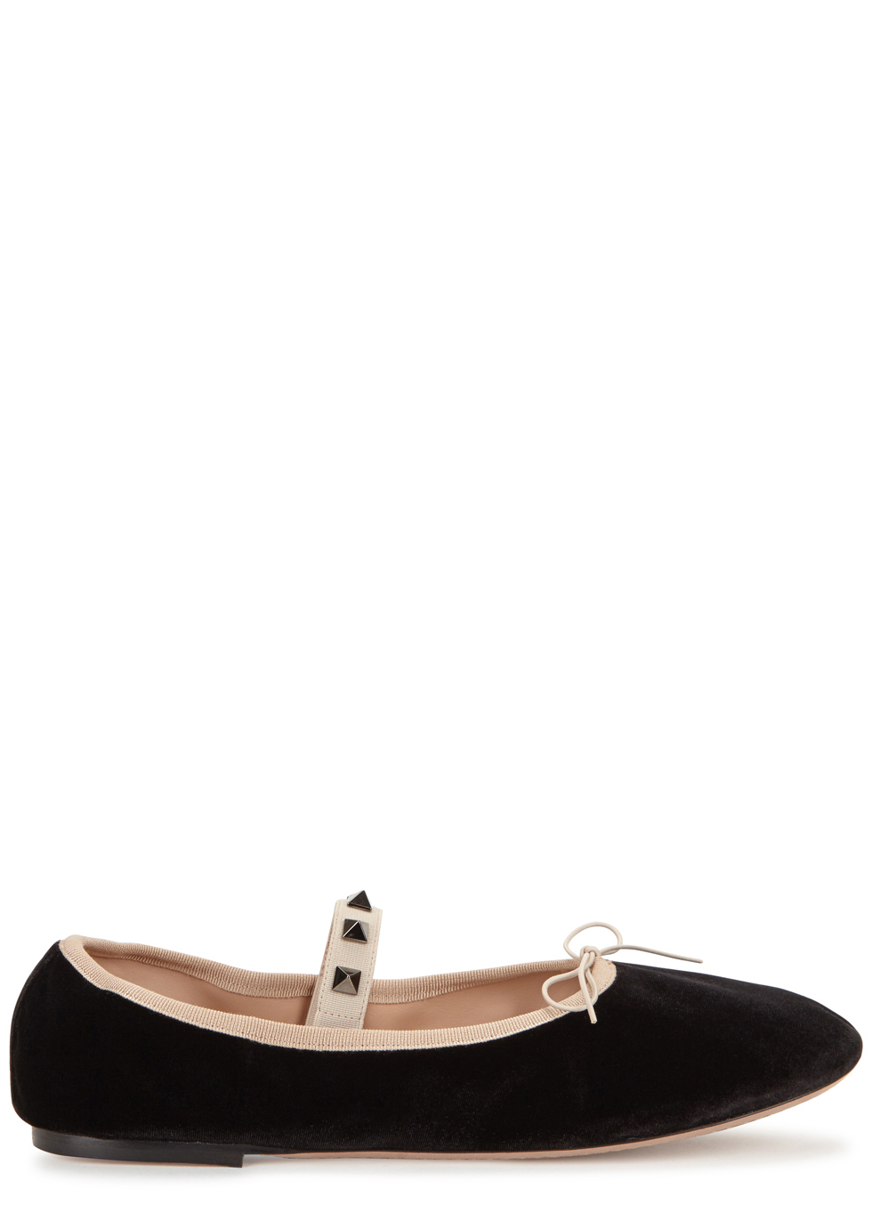 Rockstud Black Velvet Ballet Flats - predominant colour: black; occasions: casual; material: velvet; heel height: flat; embellishment: studs; ankle detail: ankle strap; toe: round toe; style: ballerinas / pumps; finish: plain; pattern: plain; wardrobe: basic; season: a/w 2016