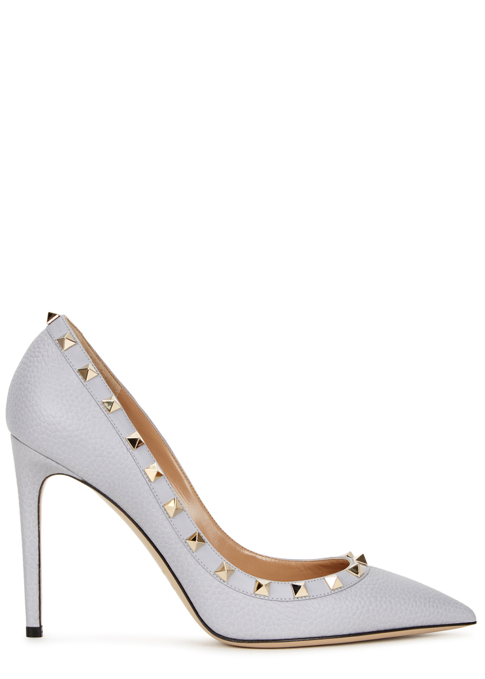 Rockstud 100 Pale Blue Leather Pumps - predominant colour: pale blue; occasions: evening; material: leather; heel height: high; embellishment: studs; heel: stiletto; toe: pointed toe; style: courts; finish: plain; pattern: plain; season: a/w 2016; wardrobe: event