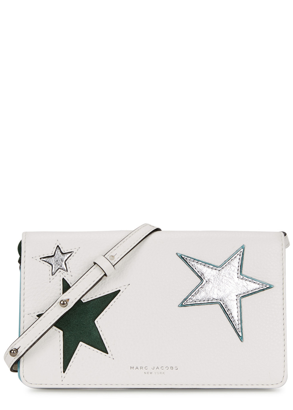 Star Patchwork Leather Cross Body Bag - predominant colour: white; secondary colour: silver; occasions: evening; type of pattern: light; style: clutch; length: shoulder (tucks under arm); size: mini; material: leather; finish: plain; pattern: patterned/print; season: a/w 2016; wardrobe: event