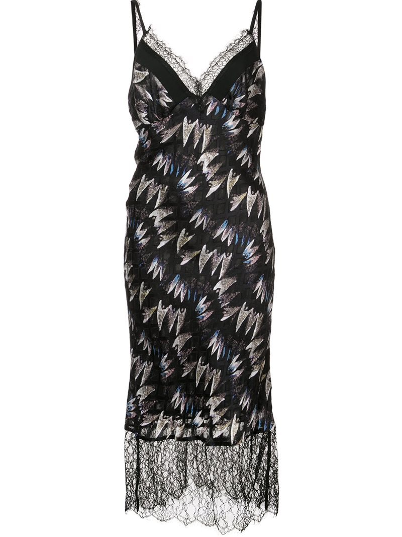 'margarit' Lace Detail Dress, Women's, Black - length: below the knee; neckline: low v-neck; sleeve style: spaghetti straps; secondary colour: ivory/cream; predominant colour: black; occasions: evening; fit: body skimming; style: slip dress; fibres: silk - 100%; sleeve length: sleeveless; texture group: silky - light; pattern type: fabric; pattern: patterned/print; embellishment: lace; multicoloured: multicoloured; season: a/w 2016; wardrobe: event; embellishment location: hip