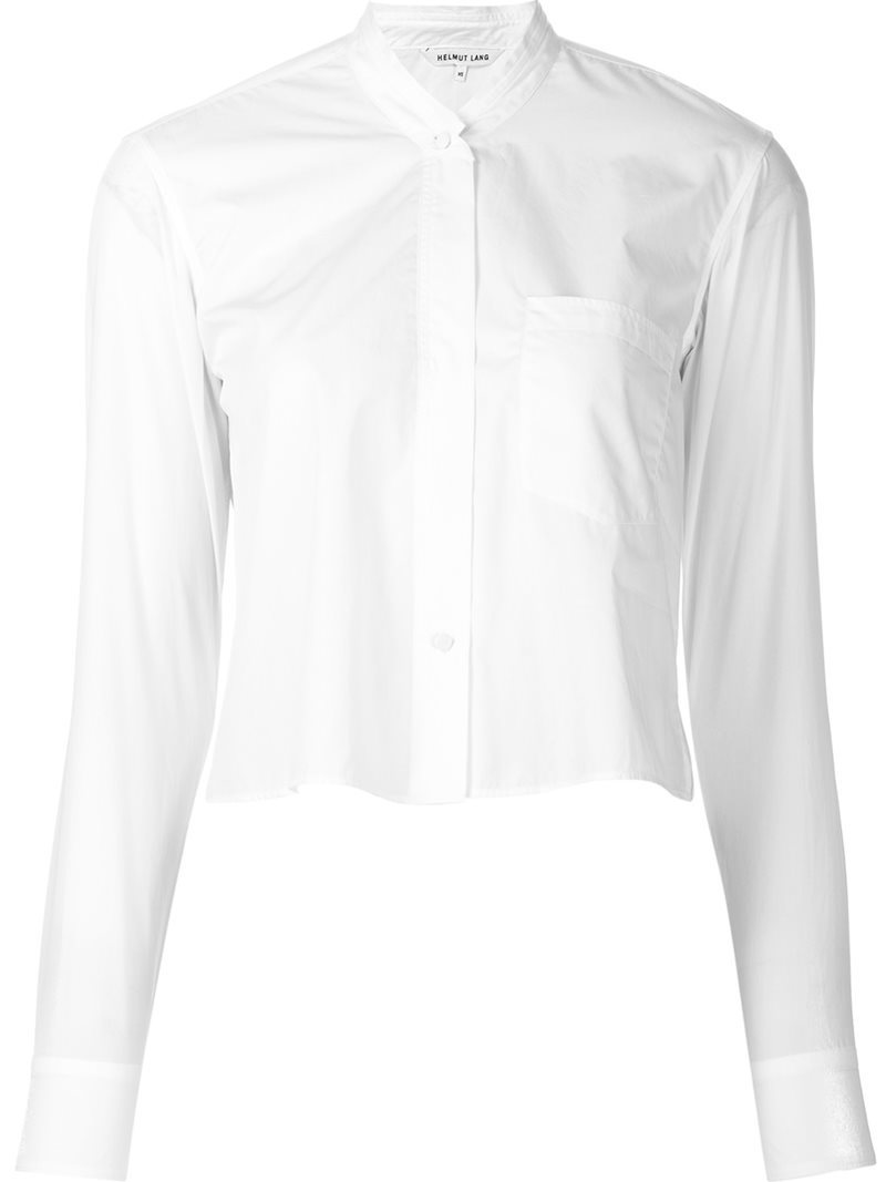 Cropped Button Down Shirt, Women's, Size: Small, White - pattern: plain; neckline: high neck; length: cropped; style: shirt; predominant colour: white; occasions: casual, creative work; fibres: cotton - 100%; fit: straight cut; sleeve length: long sleeve; sleeve style: standard; texture group: cotton feel fabrics; pattern type: fabric; pattern size: standard; wardrobe: basic; season: a/w 2016
