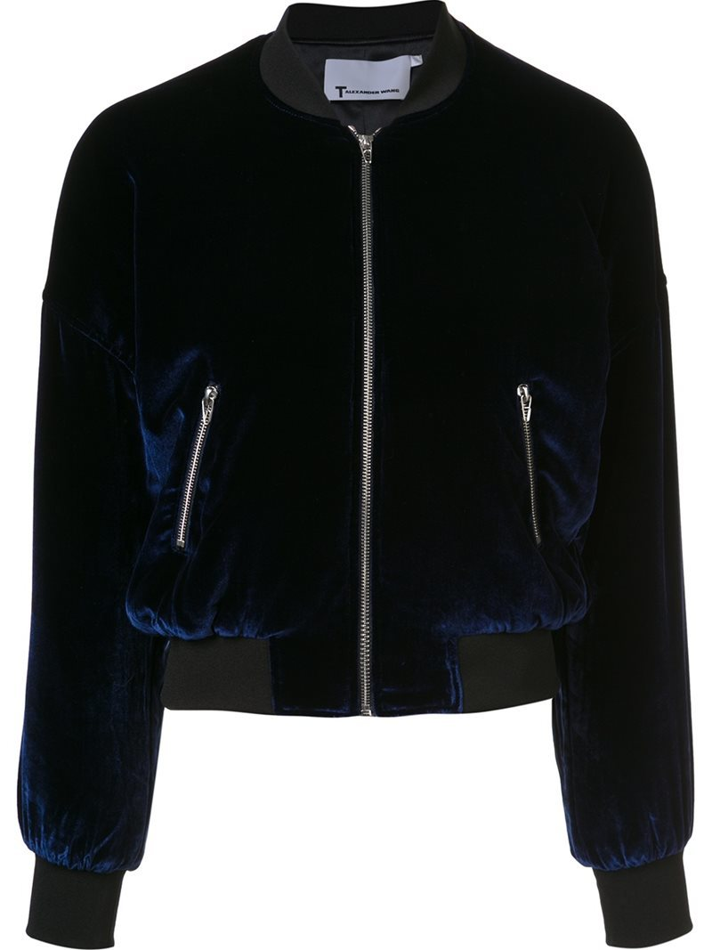 Classic Bomber Jacket, Women's, Blue - collar: round collar/collarless; style: bomber; predominant colour: navy; secondary colour: black; occasions: casual, creative work; length: standard; fit: straight cut (boxy); fibres: polyester/polyamide - 100%; sleeve length: long sleeve; sleeve style: standard; collar break: high; pattern type: fabric; pattern: colourblock; texture group: velvet/fabrics with pile; season: a/w 2016; wardrobe: highlight