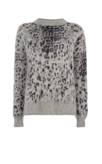 Grey Leopard Print Jumper - neckline: high neck; style: standard; secondary colour: charcoal; predominant colour: mid grey; occasions: casual; length: standard; fibres: wool - mix; fit: standard fit; sleeve length: long sleeve; sleeve style: standard; texture group: knits/crochet; pattern type: fabric; pattern size: standard; pattern: animal print; multicoloured: multicoloured; season: a/w 2016; wardrobe: highlight