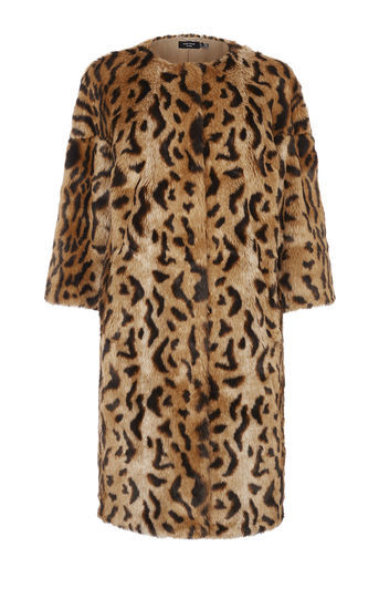 Leopard Print Faux Fur Coat - collar: round collar/collarless; length: mid thigh; predominant colour: tan; secondary colour: black; occasions: evening, creative work; fit: straight cut (boxy); fibres: acrylic - mix; style: fur coat; sleeve length: 3/4 length; sleeve style: standard; texture group: fur; collar break: high; pattern type: fabric; pattern: animal print; season: a/w 2016; wardrobe: highlight