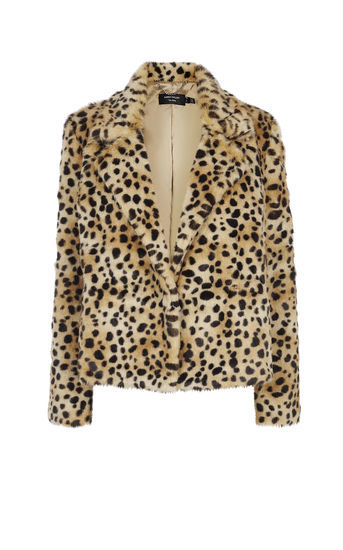 Leopard Print Faux Fur Coat - length: standard; style: single breasted; collar: standard lapel/rever collar; predominant colour: camel; secondary colour: black; fit: straight cut (boxy); fibres: acrylic - 100%; sleeve length: long sleeve; sleeve style: standard; texture group: fur; collar break: medium; pattern type: fabric; pattern size: standard; pattern: animal print; occasions: creative work; season: a/w 2016