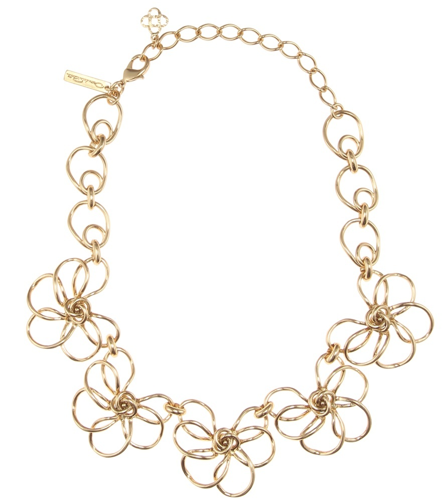 Metal Flower Necklace - predominant colour: gold; occasions: evening, occasion; length: mid; size: large/oversized; material: chain/metal; finish: metallic; style: chain (no pendant); season: a/w 2016; wardrobe: event